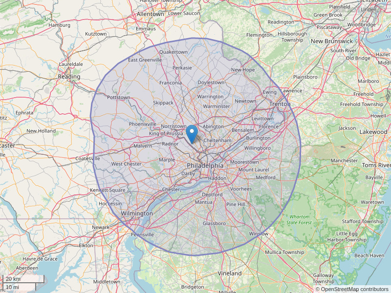 WHYY-FM Coverage Map