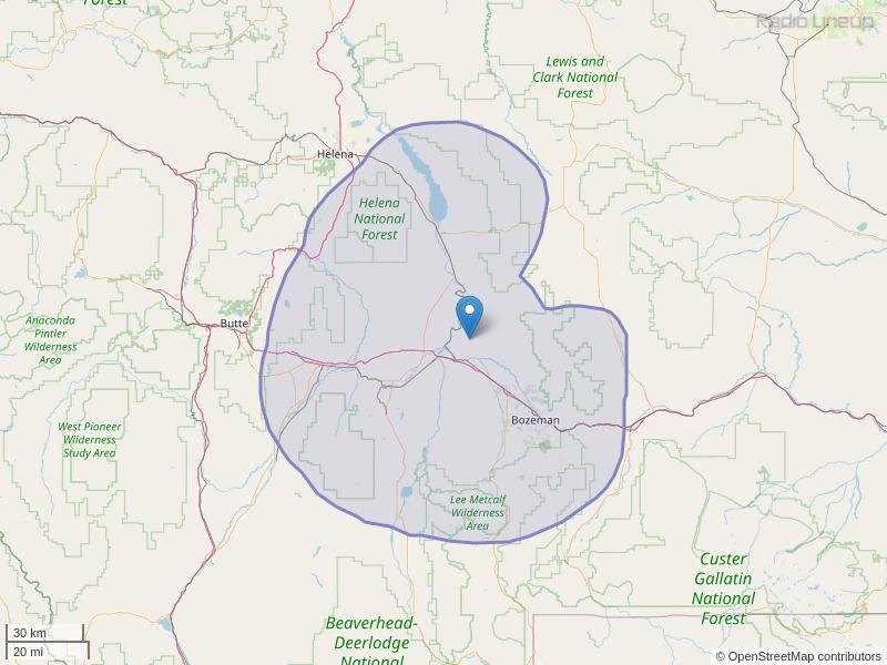 KZMY-FM Coverage Map