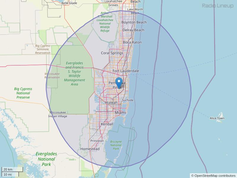 WHQT-FM Coverage Map