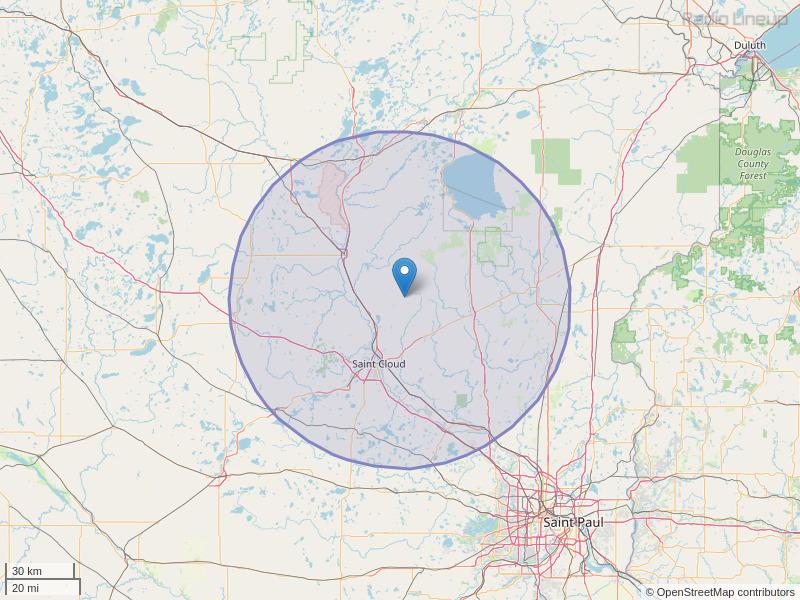 WWJO-FM Coverage Map