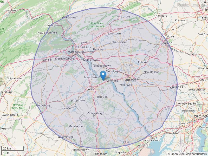 WARM-FM Coverage Map