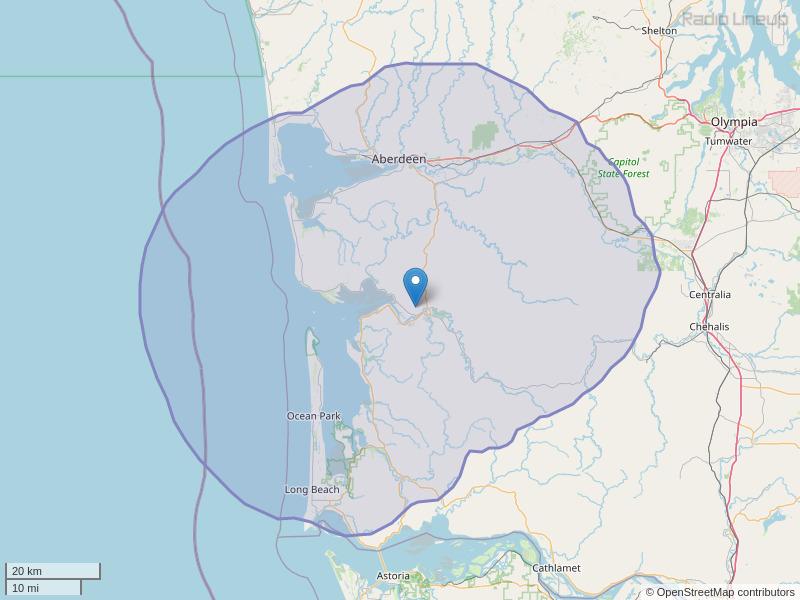 KJET-FM Coverage Map