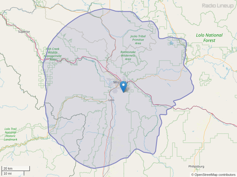 KMZL-FM Coverage Map