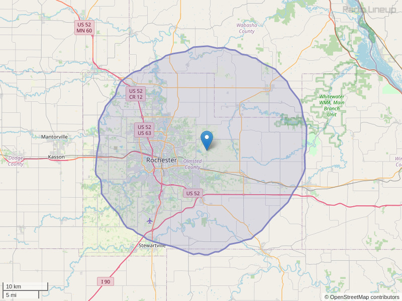 KMSE-FM Coverage Map