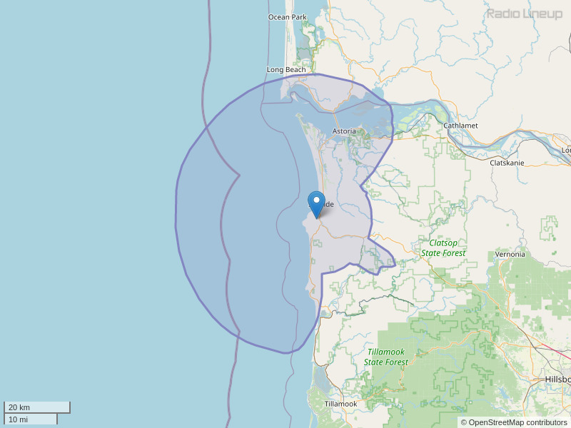 KBGE-FM Coverage Map