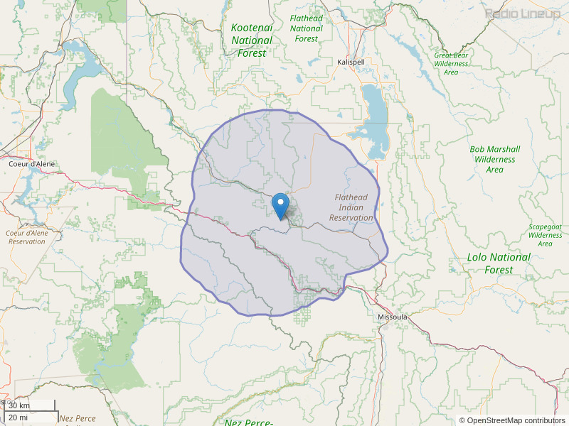 KPLG-FM Coverage Map