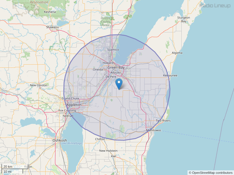 WOGB-FM Coverage Map