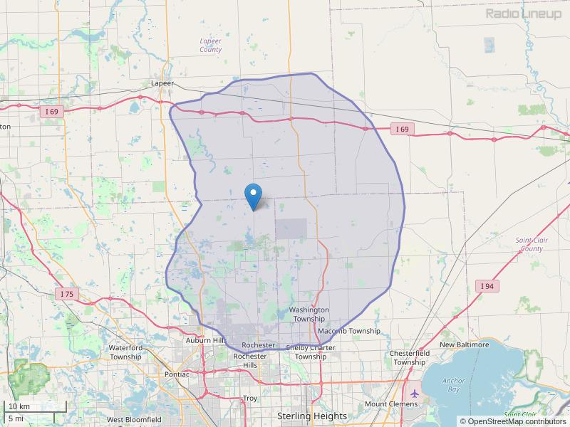 WDTR-FM Coverage Map