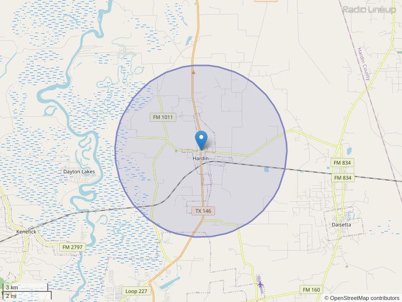 KGBV-FM Coverage Map