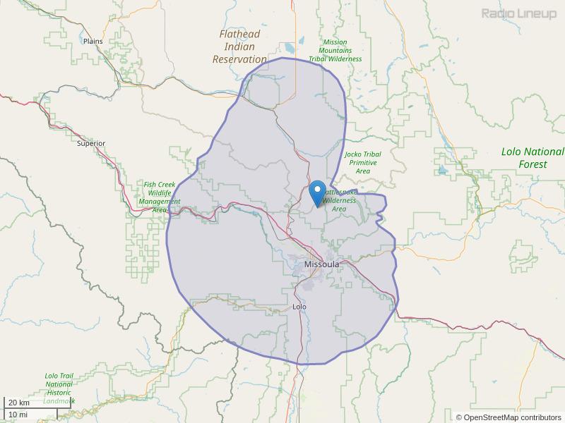 KJFT-FM Coverage Map