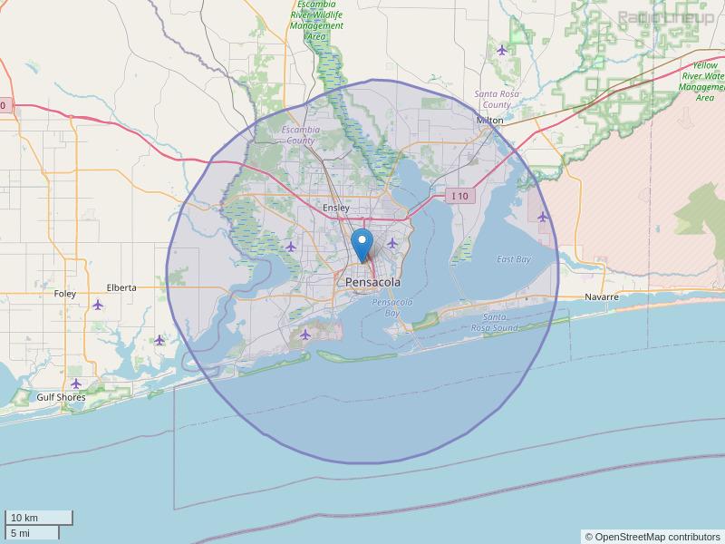 WRRX-FM Coverage Map
