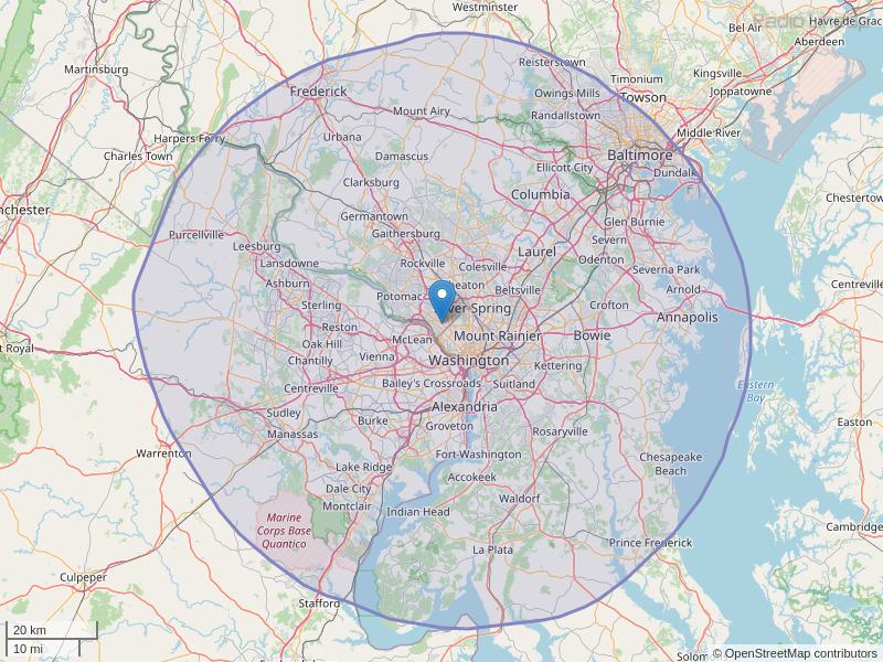 WIAD-FM Coverage Map