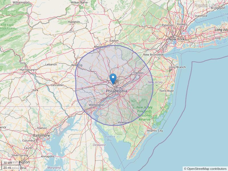 WOGL-FM Coverage Map