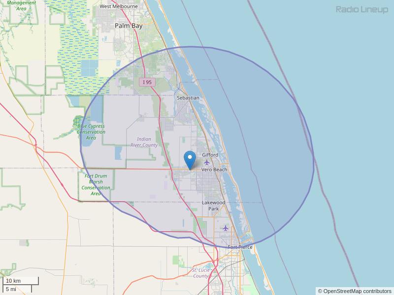 WSCF-FM Coverage Map